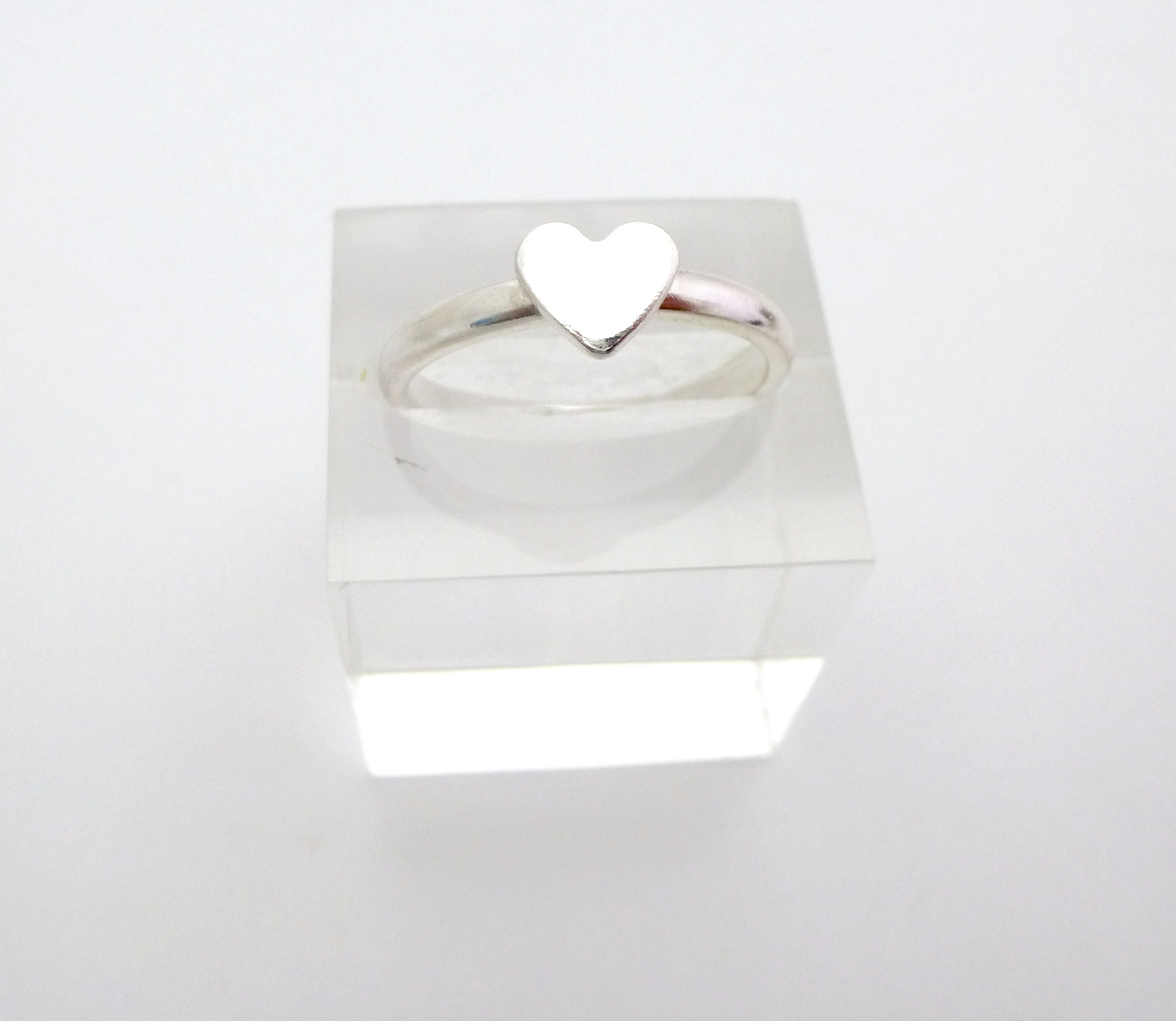 Silver and Stone Little Heart Ring 1