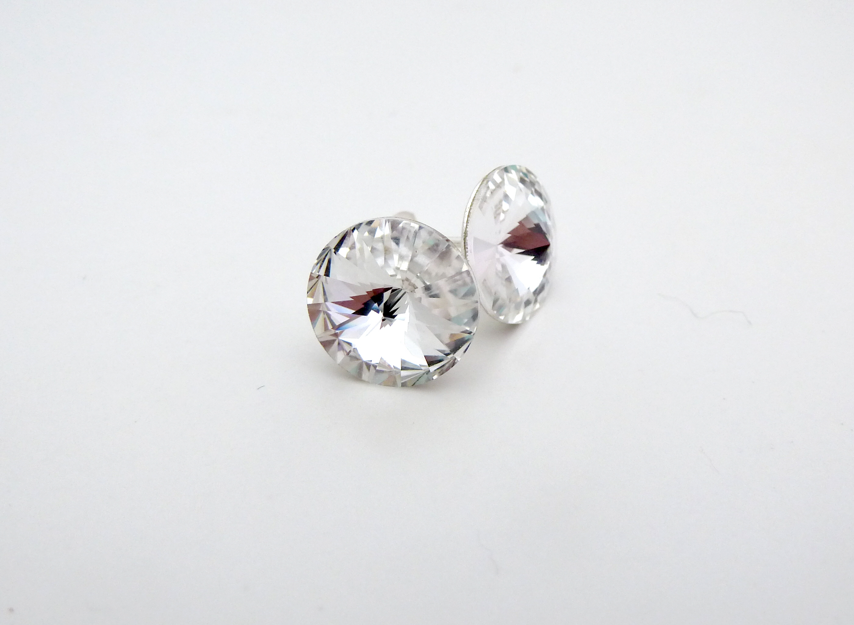diamond stud champagne p silver earrings