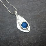 silver leaf and blue glass pendant www.silver-stonejewellery.co.uk