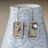 silver-stone-bird and moon earrings