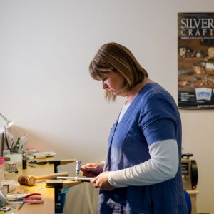 silver-stone-Helen in the studio