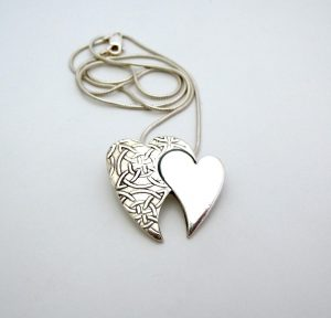 Celtic loving heart necklace - Silver and Stone