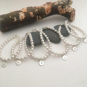 pearl Initial bracelet by Helen Drye