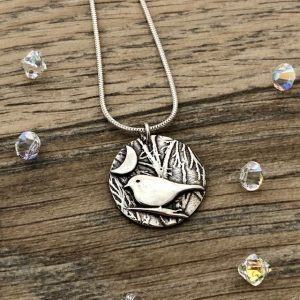 bird and moon necklace by Helen Drye