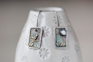 Silver Bird and Moon Earrings