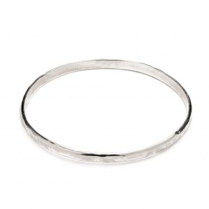Silver and Stone Hammered Bangle