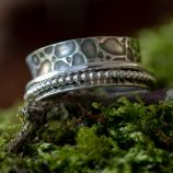 Silver and stone fidget ring