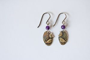 Woodland bird drop earrings by Helen Drye - amethyst 1