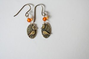 Woodland bird drop earrings by Helen Drye - amber1