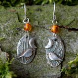 Woodland bird drop earrings by Helen Drye - amber