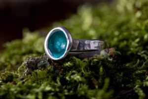 Woodland Pod Rings by Helen Drye - turquoise