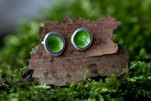 Woodland Pod Stud Earrings - Green by Helen Drye