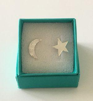 moon and star earrings by Helen Drye