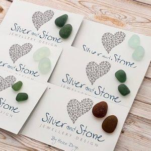 sea glass earrings by Helen Drye