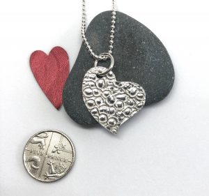 Silver and stone heart by Helen Drye