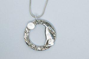 Moon Gazing Hare Pendant by Helen Drye